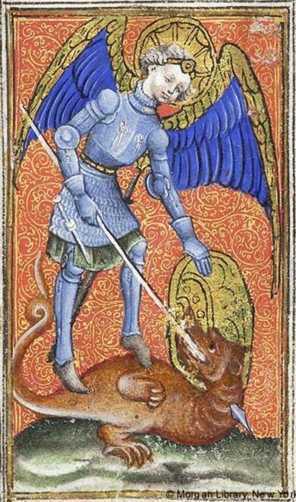 St. Michael kills the dragon. Book of Hours, c. 1415-20 (Netherlands, possibly Delft). Morgan M.866, fol. 111v. Morgan Library, New York.