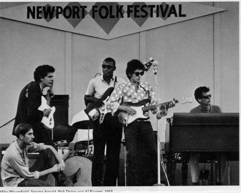 Bob Dylan at Newport Folk Festival, with Mike Bloomfield and Al Kooper.