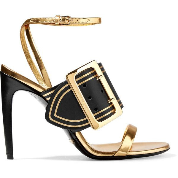Burberry Metallic leather sandals ($895) ❤ liked on Polyvore featuring shoes, sandals, burberry, gold, heels, leather sandals, ankle strap sandals, black and gold shoes, heeled sandals and black leather shoes