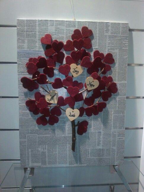 Pannello rivestito con carta di giornale e con un albero pieno d'amore!