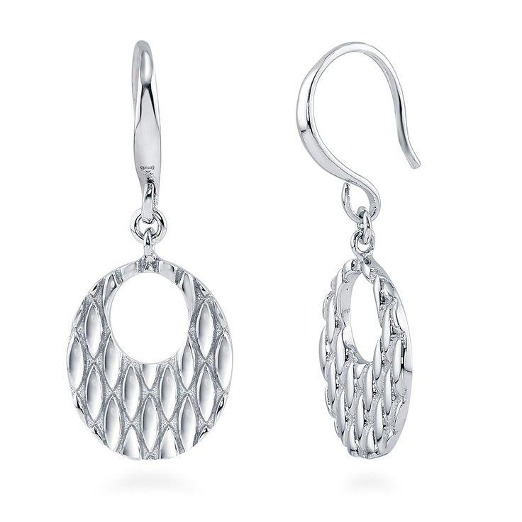 Sterling Silver Oval Fish Hook Earrings