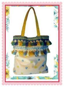 BORSA-donna-GIALLA-BLU-vintage-SHOPPING-handbag-SAC-boho-chic-HANDMADE-in-ITALY