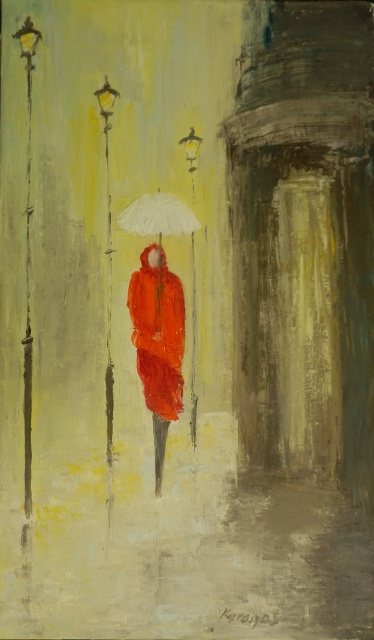 The girl with a white umbrella.  Original oil painting on deep edge canvas, 30x50 cm, knife technique.  In Mariakaralyos's Gallery.