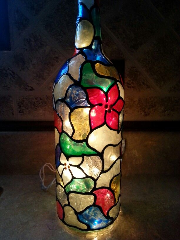 Stained glass wine bottle