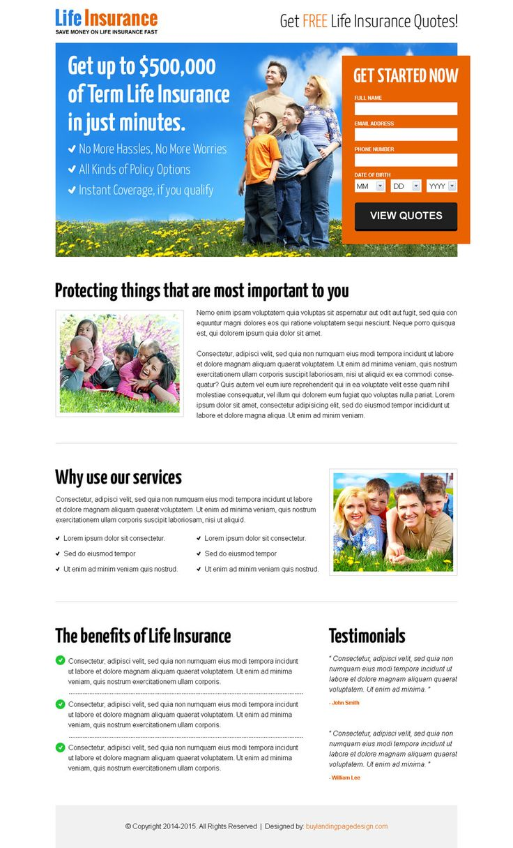 life insurance free quote lead capture landing page design