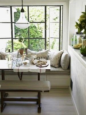 great nook!Dining Room, Benches, Breakfast Nooks, Windows Seats, Breakfastnooks, Kitchens Nooks, Window Seats, Steel Windows