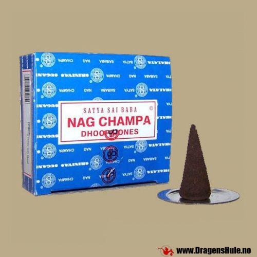 Nag Champa er sannsynligvis den mest solgte røkelsesduften i verden! Her i den originale blå forpakningen som er gjort kjent av den vise Sai Baba. Sai Baba Nag Champa er en egenartet og behagelig blomsterduft med musk-aktige overtoner, og er av mange ansett for å være den `ekte` røkelsesduften. Super Hit kan kanskje best beskrives som en noe søtere, litt mer blomstrete duft enn Nag Champa, men fremdeles meget behagelig. Sandal er sandeltre Fresh Rose dufter roser  Nag Champa er ...