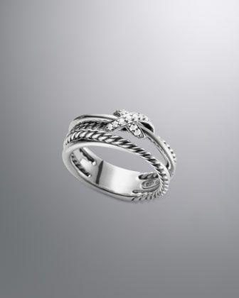 X Crossover Ring with Diamonds by David Yurman at Neiman Marcus. Push present
