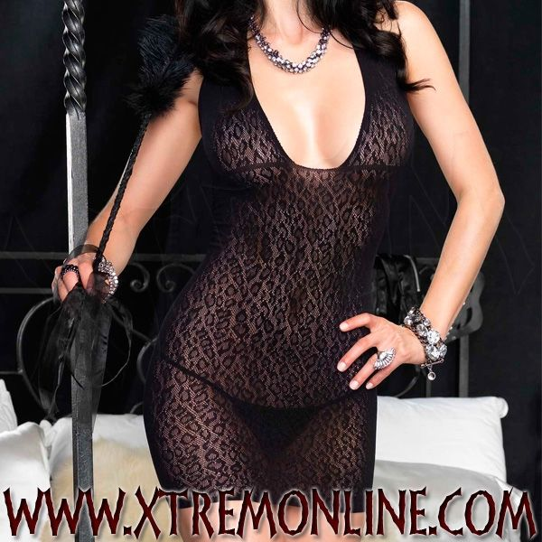 Vestido de Encaje de Leopardo Negro
