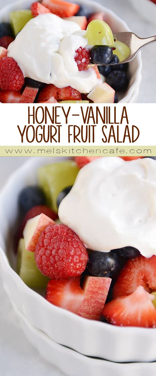 Simple and delicious, this honey-vanilla yogurt fruit salad takes fresh fruit + cream to a whole new (healthier!) level…it's a great way to change up every day fruit salad!