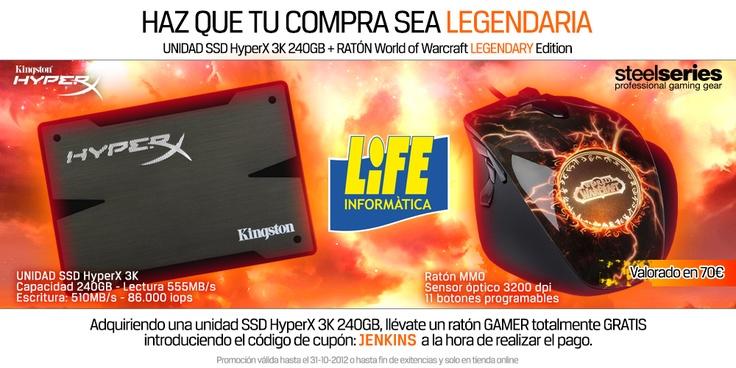 Ahora adquiriendo un SSD Kingston Technology Europe HyperX 3K 240GB, llévate gratis un ratón SteelSeries MMO World of Warcraft Legendary Edition.