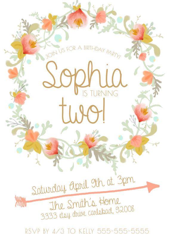Girl Kid's Birthday Invitation Boho Unique Gold and Peach Flower by kreynadesigns on Etsy