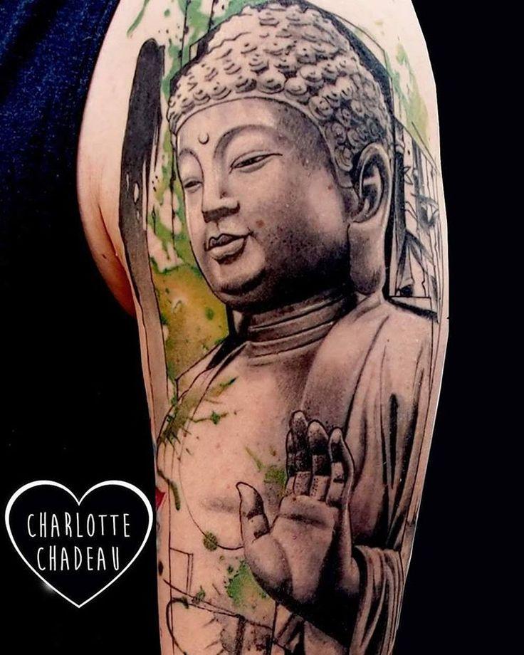 #charlottechadeau #labobinetattooclub #marseilletattoo #tattoo #buddhatattoo #bouddha #armtattoo #watercolortattoo #graphicrealism