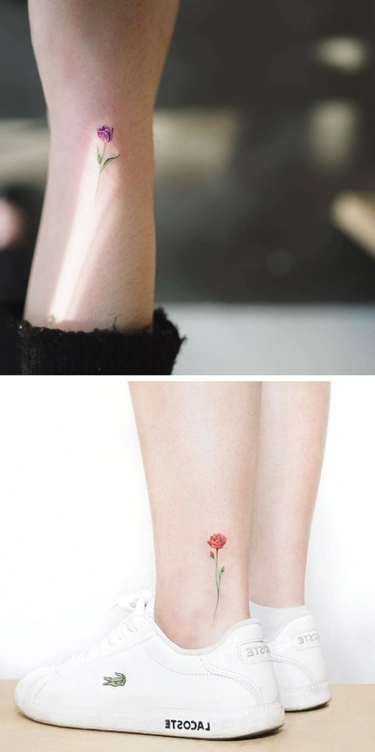 Tiny Watercolor Flower Ankle Tattoo Ideas – Colorful Rose Wrist Tatt – MyBodiArt