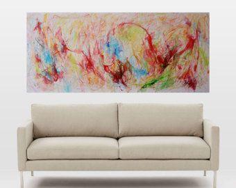 abstractive expressie met grote wand decor, expressionistische abstract, schilderen op doek, kunst aan de muur, canvas art, rood, groen en expressionistische abstract