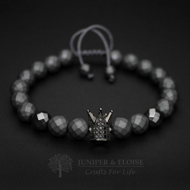 Valentines Day Gift, Crown Bracelet, Mens Bracelet, Womens Bracelet, King and Queen, Black Crown, Gemstone Bracelet, Zircon Jewelry, Royal by JuniperandEloise on Etsy