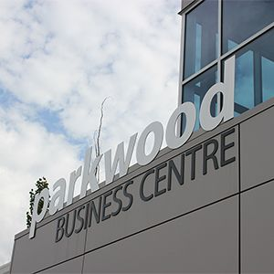 "Parkwood Business Centre in Edmonton, AB. 1/4"" thick, flat-cut-out letters."