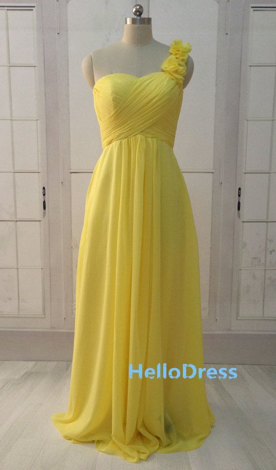 Long A line One Shoulder Sweetheart Yellow Bridesmaid Dress Chiffon Dress with Flower Straps