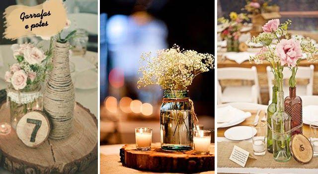 Ideias de centro de mesa casamento no campo com garrafa de - Mesas de campo ...