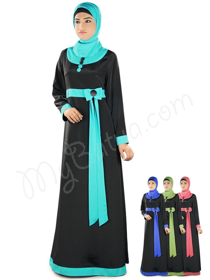 Asifa Abaya!  Style No: Ay-317  Shopping Link :  http://www.mybatua.com/asifa-abaya  Available Sizes XS to 7XL (size chart: http://www.mybatua.com/size-chart/#ABAYA/JILBAB)   •Round neckline •Contrast fabric strip at waist with bow attached •Straight sleeves with contrast fabric strip at ends •Utility pockets on both sides  •Matching Square Hijab (100x100 cm approx.) and Band can be bought separately. •Colour: In 4 different color options •Fabric: Poly Crepe