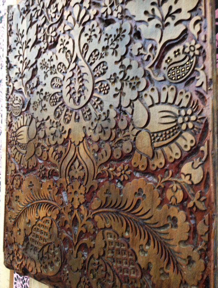 #Decorex 2014 Wooden block for hand printing wallpaper