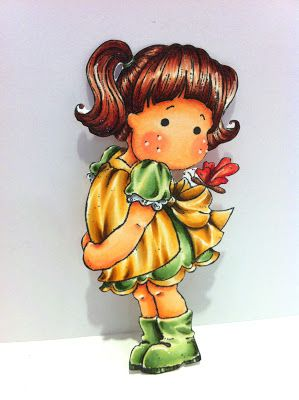 Copic Colours:   Face: E000, E00, E11, R20, R21  Hair: YR30, E13, E25  Green: YR30, G20, YR61, YR63  Yellow: YR30, Y23, YR21, YR24  Red: R12, R14, R17, R37  Grey: C1, C3  Brown(Body of butterfly): E13, E25  Others: W3 & W5