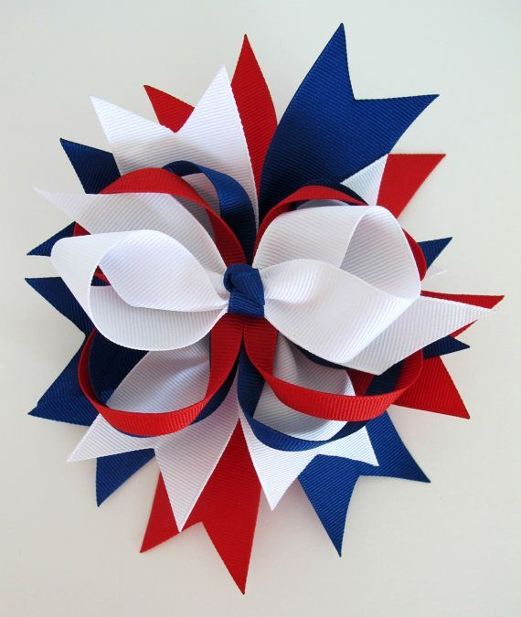 4th of July Hair Bows   Large Stacked Fourth of July Hair Bow   Celebrate: Independance Day ...