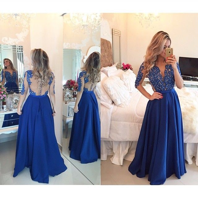 V Neck Taffeta Illusion Back Long Sleeve Prom Dress #prom #evening #party #dress