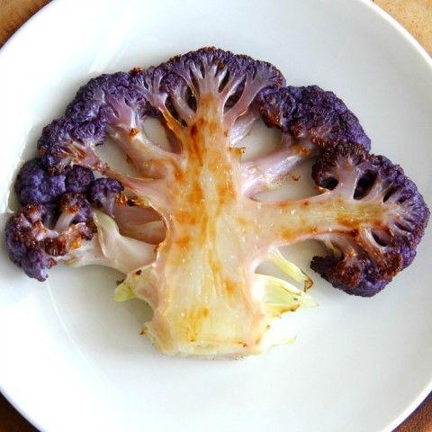 Purple Cauliflower Steaks recipe on ShockinglyDelicious.com