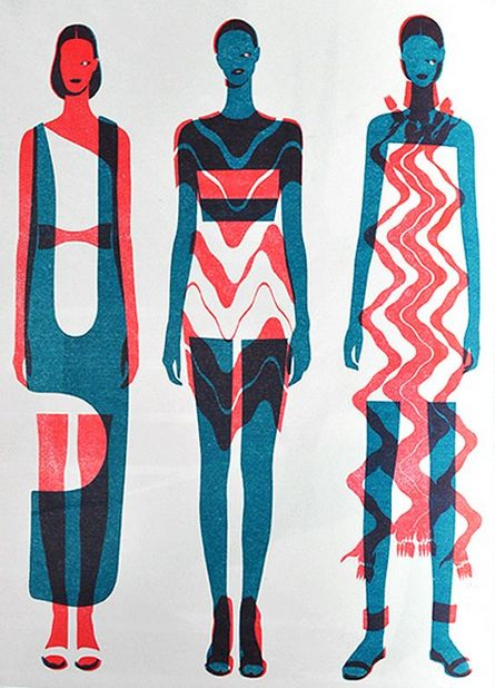 Blue and Red Fashion Illustrations