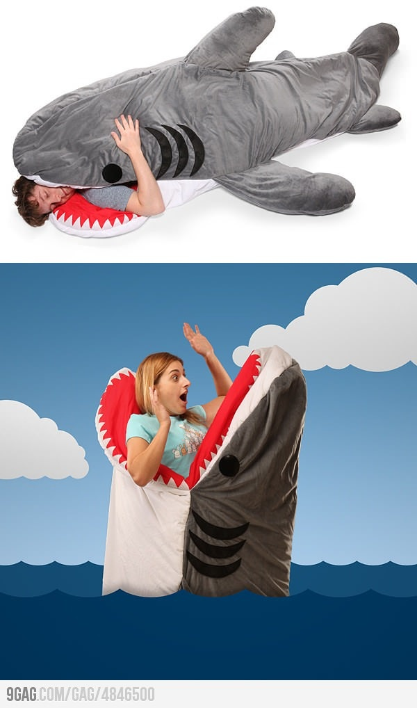 Giant Shark Sleeping Bag...Australian surfers probably would have serious nightmares sleeping in this, in the wake of recent events