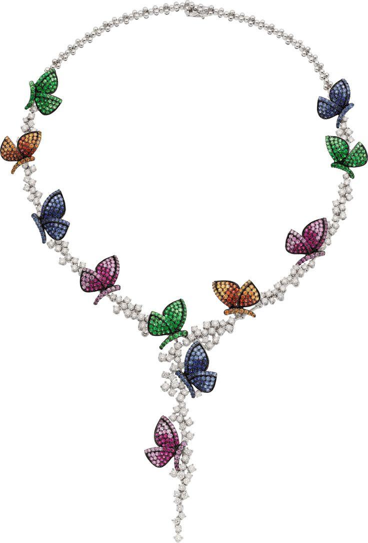 Diamond, Multi-Color Sapphire, Ruby, Tsavorite Garnet, White Gold Necklace