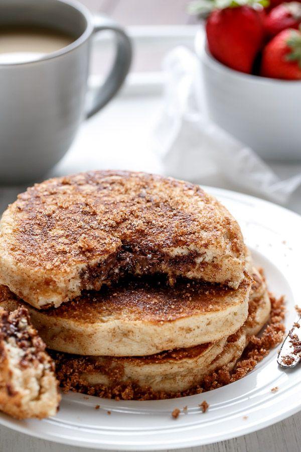 National Pancake Day! | Nutella Stuffed Cinnamon Sugar Donut Pancakes | http://cafedelites.com