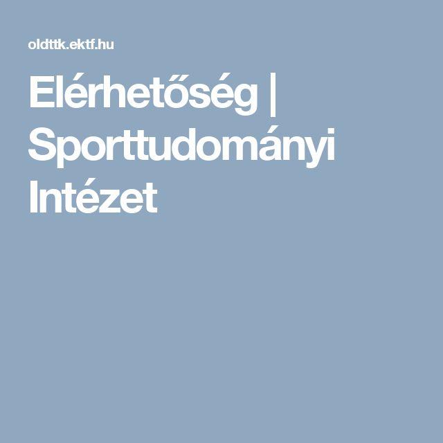 Elérhetőség | Sporttudományi Intézet
