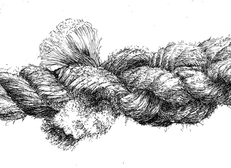 The use of pen to apply loose line hatching and other strokes in differing directions are able to capture the texture of this rope drawing.