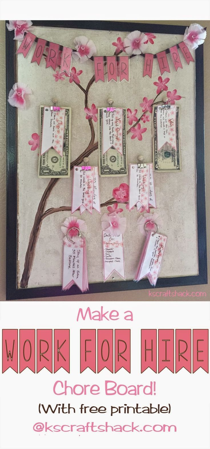 "CraftShack: ""Work for Hire"" Chore chart redo! with free Printable. kids and money, teachiing kids about money #kids"