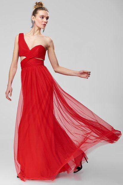 Kirmizi Drapeli Tek Omuz Elbise Elbise The Dress Elbiseler