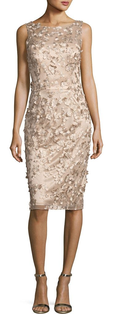 Sleeveless Metallic 3D Floral Cocktail Dress by David Meister. David Meister metallic cocktail dress with 3D floral embroidery. Round neckline with strapless illusion. Sleeveless; ...