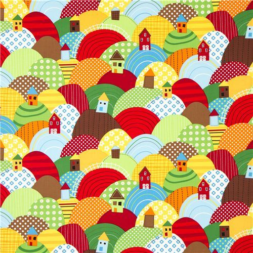 Just bought this to make some curtains for my classroom.  Country house fabric with colourful hills by Robert Kaufman.