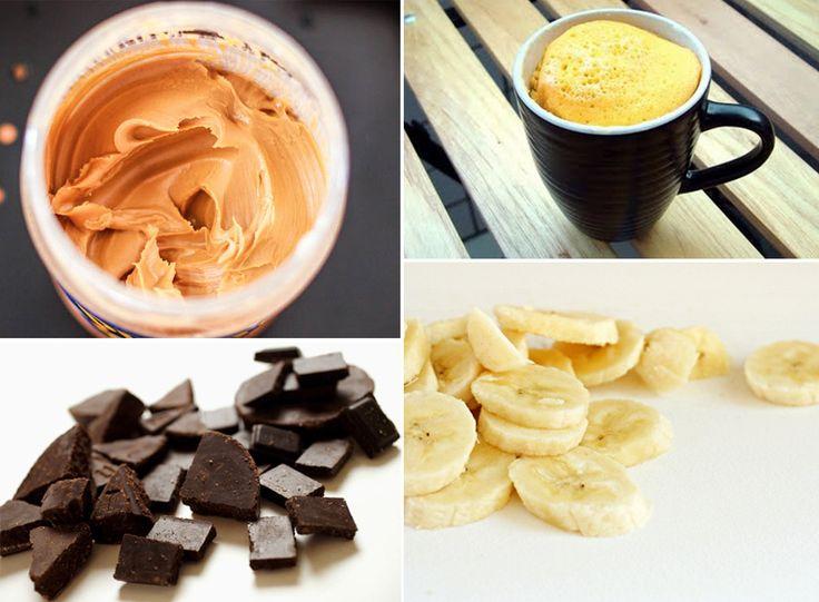 Bolo de caneca com banana, peanut butter e chocolate amargo @animalebrasil  | 6 cS farinha de amendoas, 1 banana, 2 cS oleo de coco, 1 colh cha coco ralado sem açucar, 1 colh cha fermento, 1/2 cS mel | #almondflour #bolodecaneca #mugcake