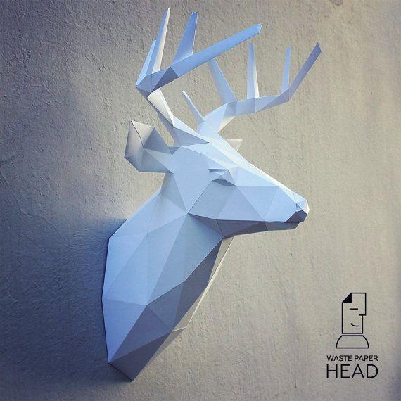 Modello di carta renna testa 2-stampa di WastePaperHead su Etsy