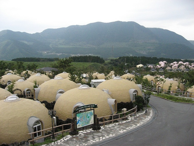 This surreal collection of hemispherical cottages forms part of 'Farmland', a novelty hotel/resort in Aso, Kyushu.