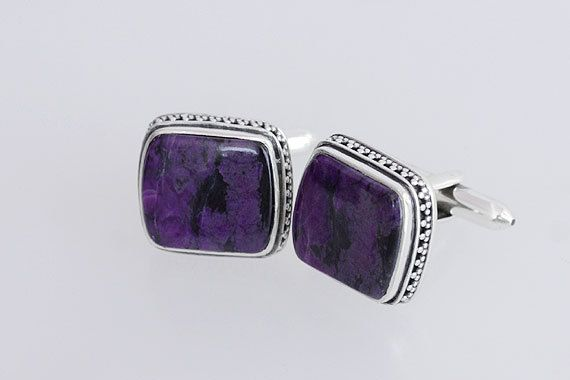 Awesome Rare Sugilite Matched Pair Silver Cufflinks, Designer Silver Cufflinks, Sugilite Gemstone, Sterling Silver Cufflinks, Inc-7