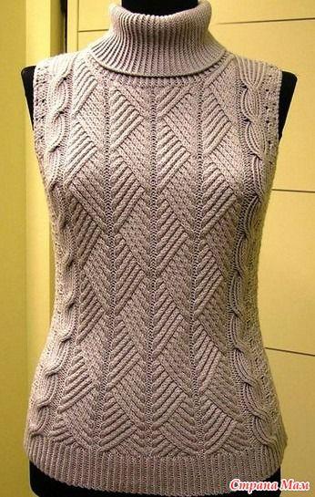 Жилет и свитер одним узором спицами - Вязание - Страна Мам
