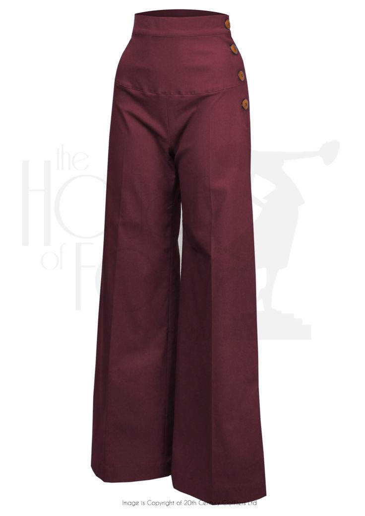 1930s Style High Waist Yoke Pants in burgundy at The House of Foxy. Love!