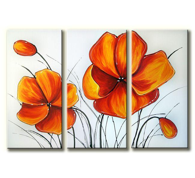 Mooi vrolijk en helder acrylverf schilderij op drie canvasdoeken.Deze 3-luik hoort thuis in een moderne woning.