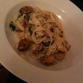 Veal Dumplings with Zucchini Carbonara Pasta