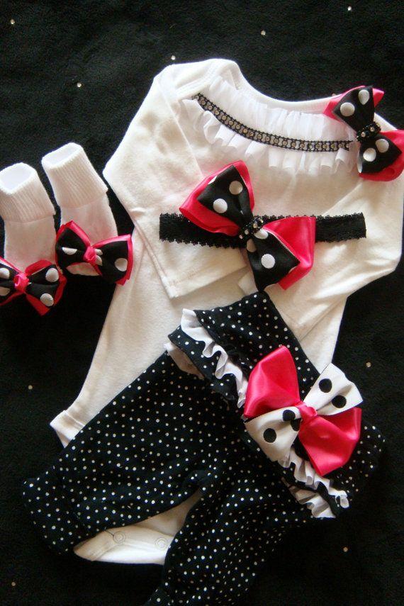 NEWBORN baby girl take home outfit complete shirt pants socks headband hot pink black white polka dot rhinestones