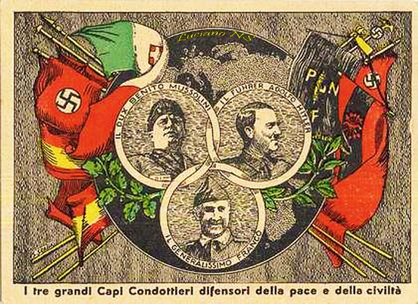 "Poster with propaganda of Benito Mussolini, Adolf Hitler and Francisco Franco with the slogan, ""I tre grandi Capi Condottieri difensori della pace e della civilità"" (The three great chiefs Lieutenants defenders of peace and civilization)"
