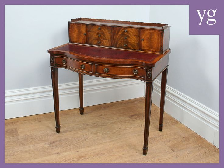 Antique 3ft Sheraton Style Mahogany Office Study Desk Side Ladies Writing  Table #Antique3ftLadiesWritingDesk - Antique 3ft Sheraton Style Mahogany Office Study Desk Side Ladies